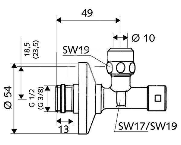 SCHELL - Rohové ventily Rohový regulační ventil s bezpečnostním ovládáním, chrom (049450699)