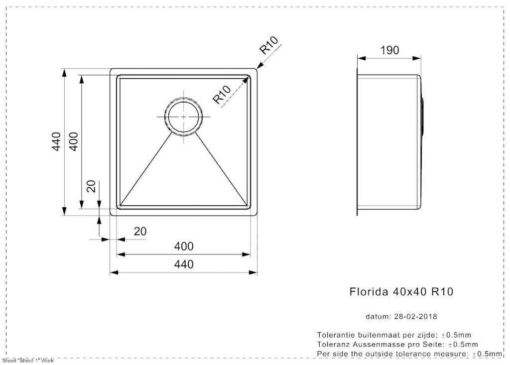 Reginox - Nerezový dřez Florida 40x40 (R26274)