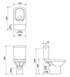 CERSANIT - WC KOMBI 482 CARINA NEW CLEAN ON 010  3/5l + sedátko duraplast soft close (K31-044), fotografie 2/4