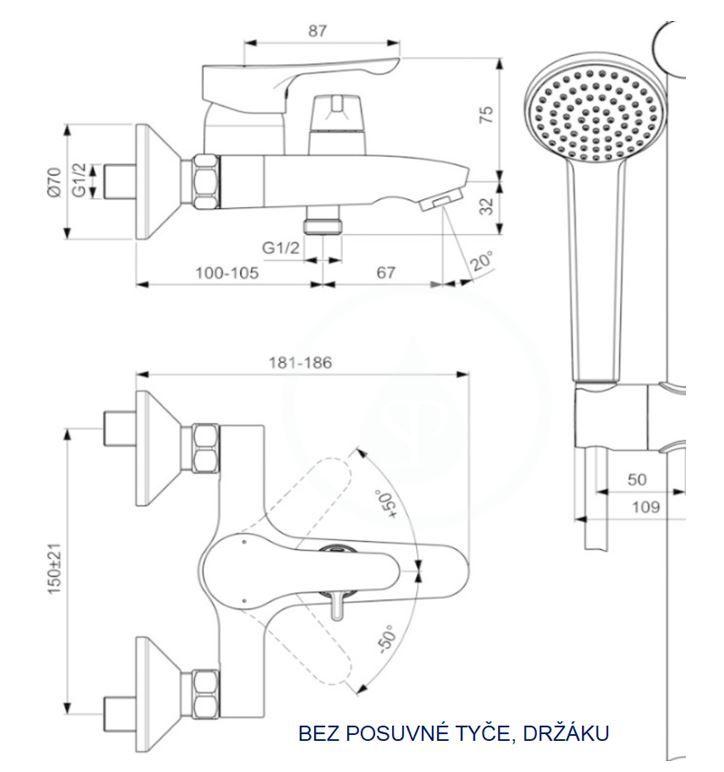 IDEAL STANDARD - Alpha Vanová nástěnná baterie s keramickým přepínačem, hadicí a ruční sprchou, chrom 2.jakost (BC656AA)