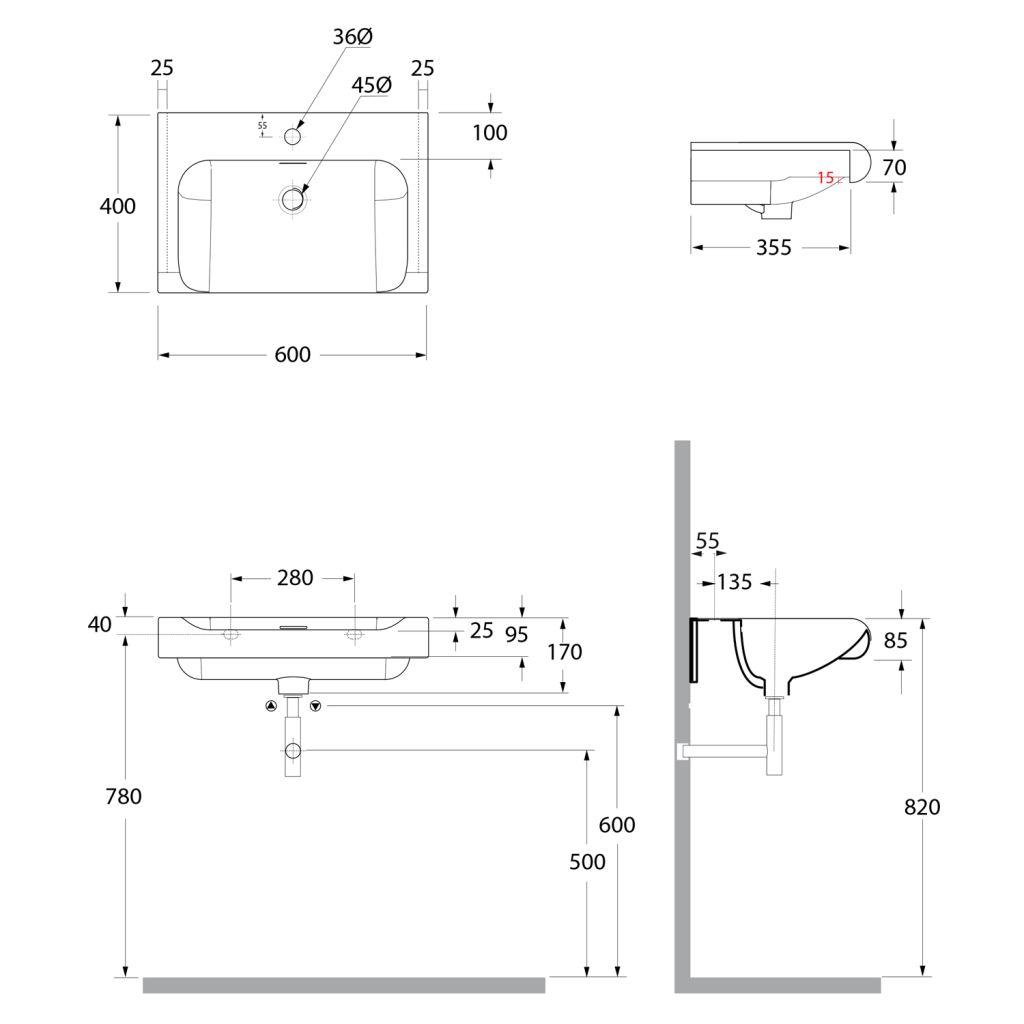 KERASAN - INKA keramické umyvadlo 60x40cm, bílá (341101)