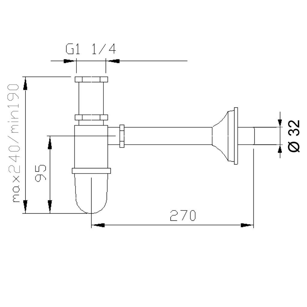 Reitano Rubinetteria - RETRO umyvadlový sifon 1'1/4, odpad 32 mm, chrom (9591)