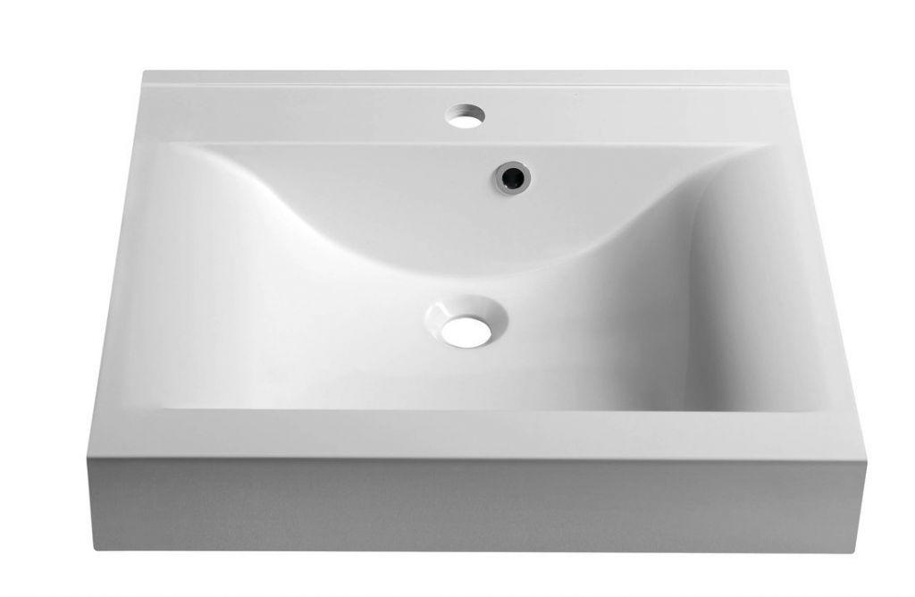 SAPHO - FLAVIA umyvadlo 60x50cm, litý mramor, bílá (68061)