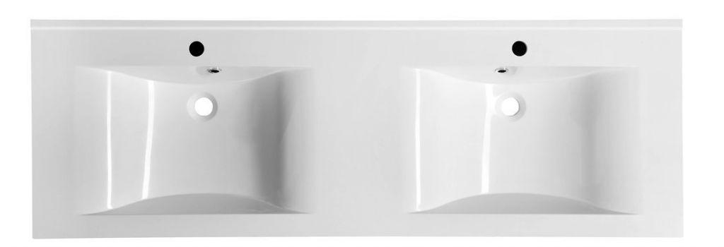 SAPHO - FLAVIA dvojumyvadlo 150x50cm, litý mramor, bílá (68154)
