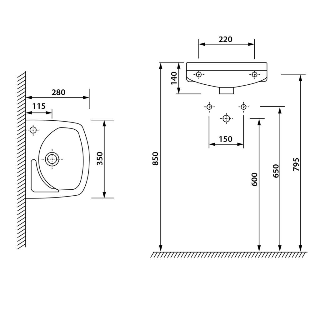 AQUALINE - Keramické umyvadlo 35x28cm (91351)