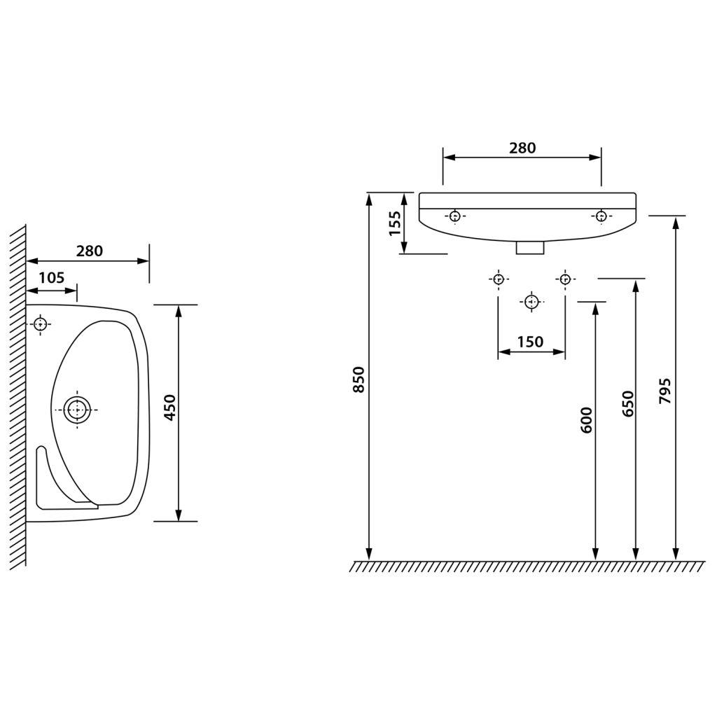 AQUALINE - Keramické umyvadlo 45x28cm (91451)