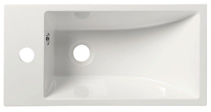SAPHO - ARIANA umyvadlo 50x10x25cm, litý mramor, bílá, baterie vlevo (SM012)
