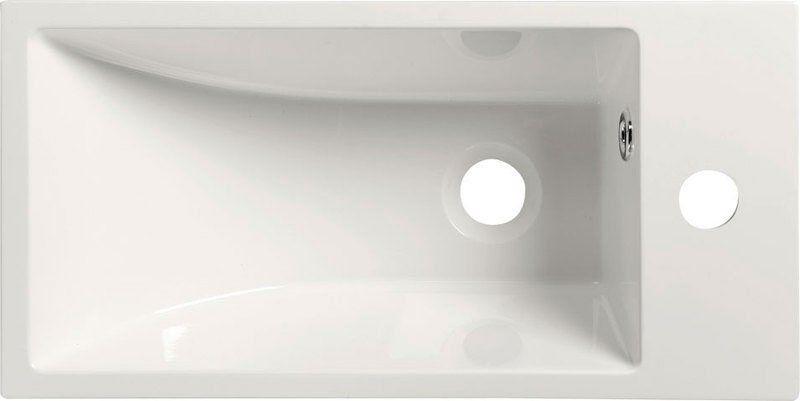 SAPHO - ARIANA umyvadlo 50x10x25cm, litý mramor, bílá, baterie vpravo (SM016)