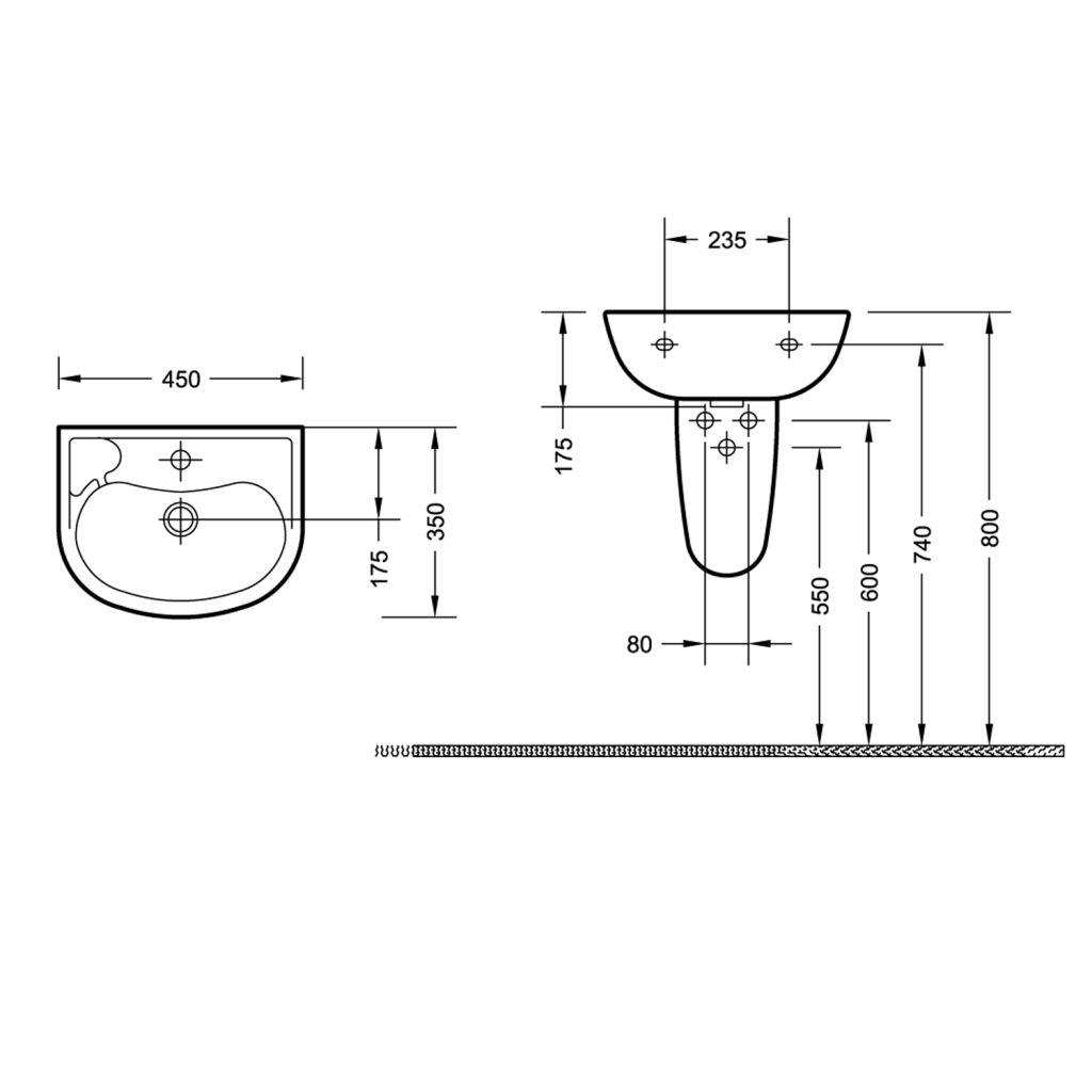 AQUALINE - Keramické umyvadlo 45x35cm (10TP71045)