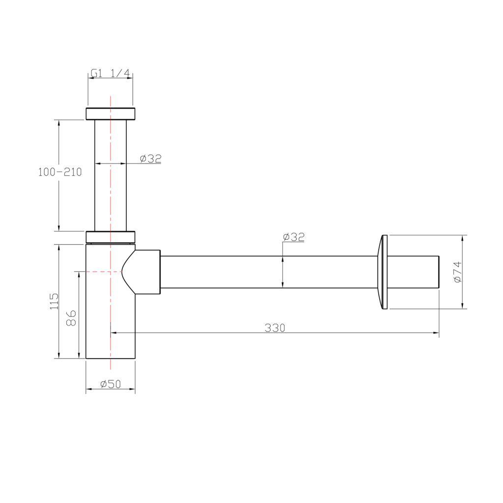 AQUALINE - Umyvadlový sifon 1'1/4, odpad 32mm kulatý, chrom (CV1003)
