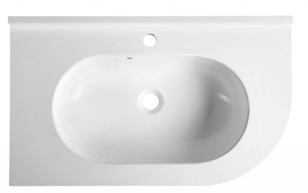 SAPHO - PULSE umyvadlo 75x4,4x45cm, litý mramor, bílá, levé (BM752)