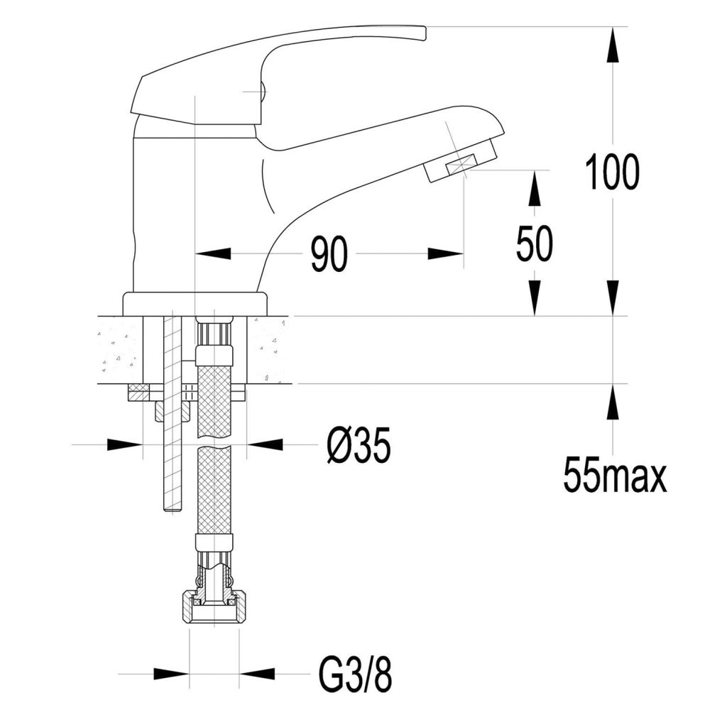 AQUALINE 35 stojánková umyvadlová baterie, bez výpusti, chrom (52102)
