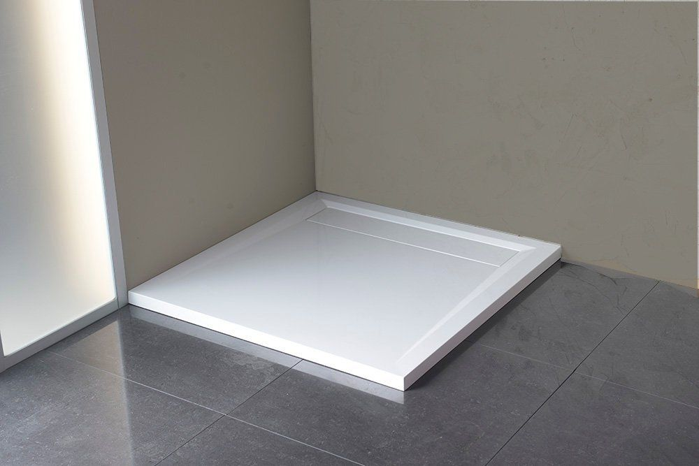 POLYSAN - ARENA sprchová vanička z litého mramoru se záklopem, čtverec 90x90x4cm, bílá (71601)