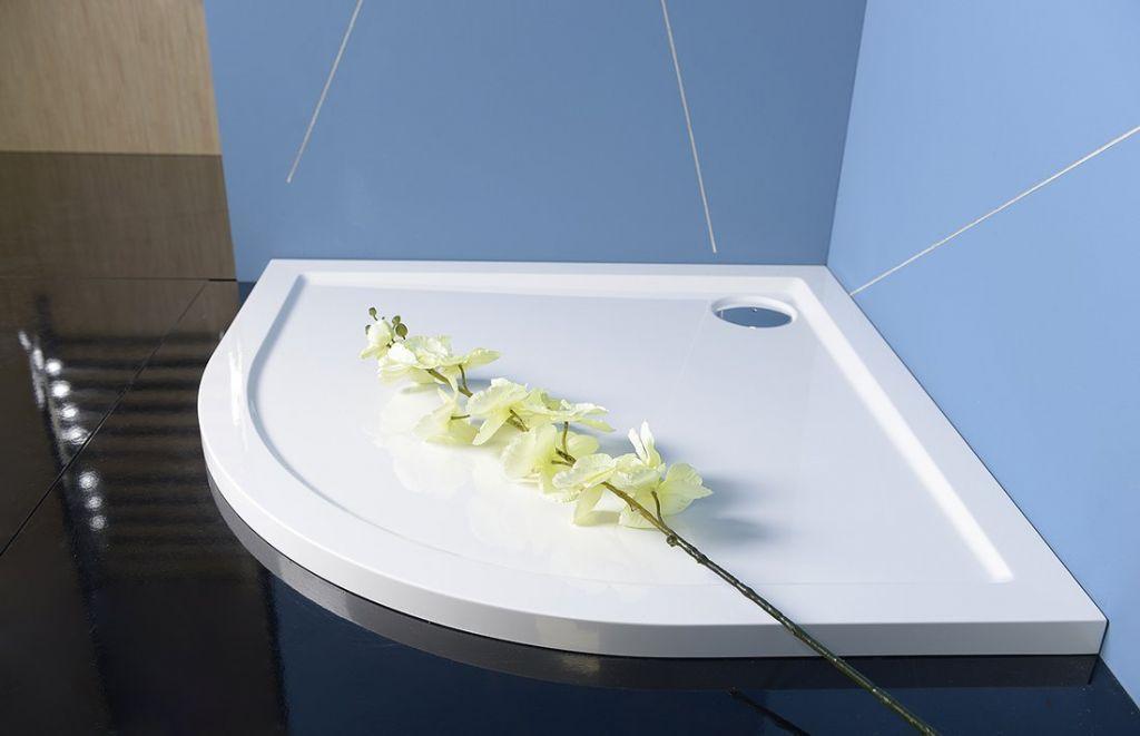 POLYSAN - SERA sprchová vanička z litého mramoru, čtvrtkruh 90x90x4cm, R550, bílá (41511)