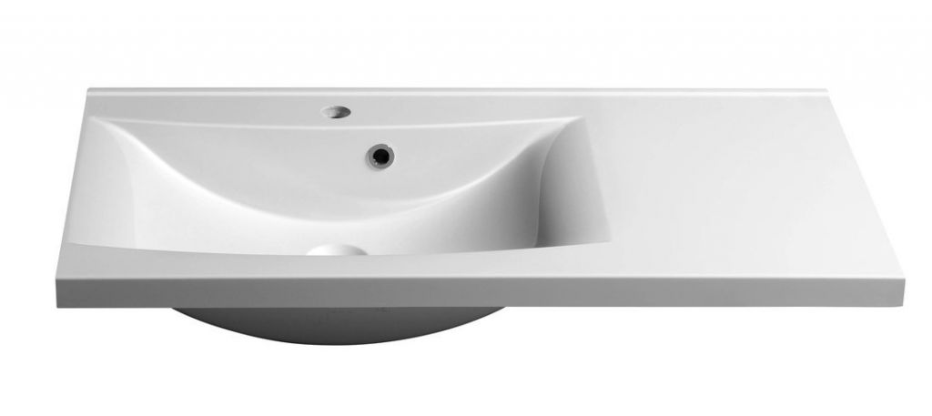 SAPHO - LUCIOLA umyvadlo 90x48cm, litý mramor, bílá, levé (50093)