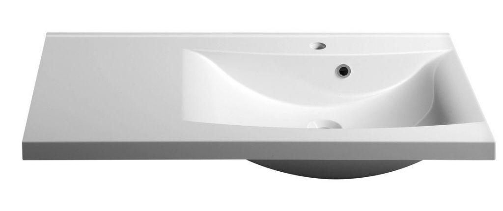 SAPHO - LUCIOLA umyvadlo 90x48cm, litý mramor, bílá, pravé (50094)