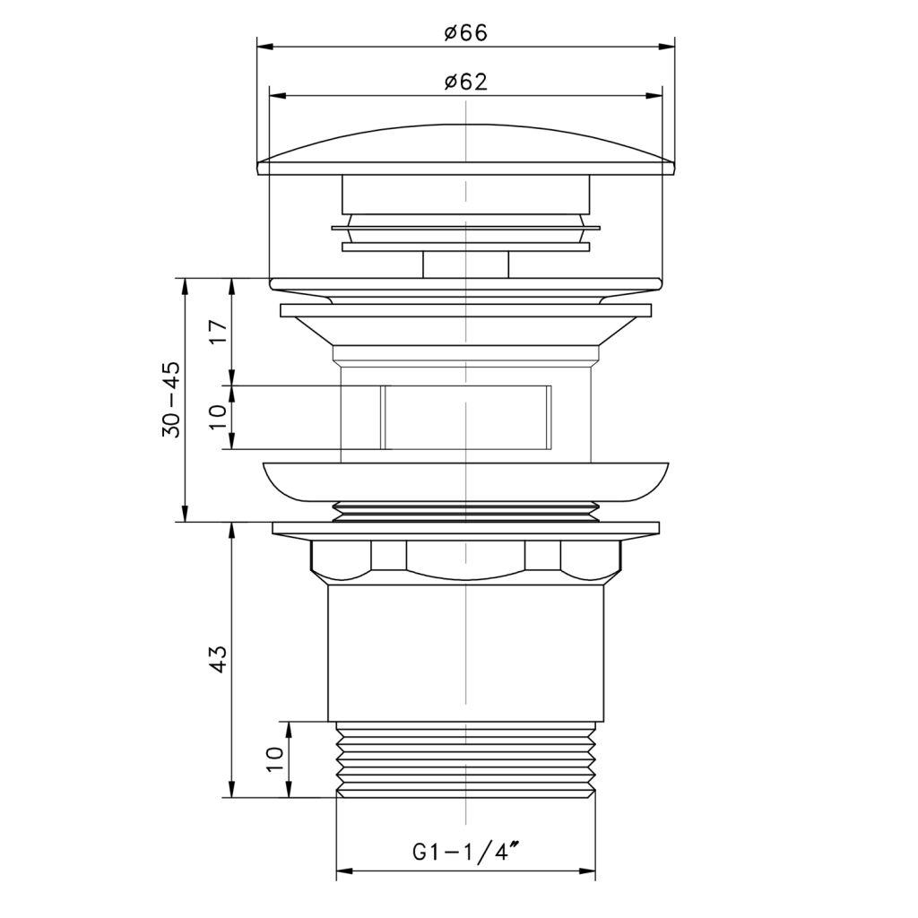 """AQUALINE - Umyvadlová výpust 5/4"""", click-clack, velká zátka, tl.30-45mm, chrom (TF7001)"""