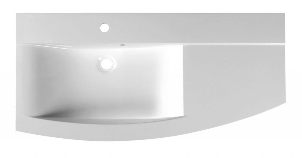 SAPHO - ARAS umyvadlo 105,2x50,5cm, litý mramor, levé, bílá (91060)