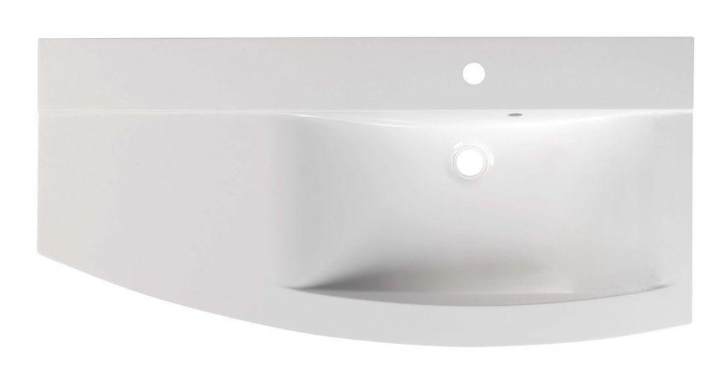 SAPHO - ARAS umyvadlo 105,2x50,5cm, litý mramor, pravé, bílá (91061)