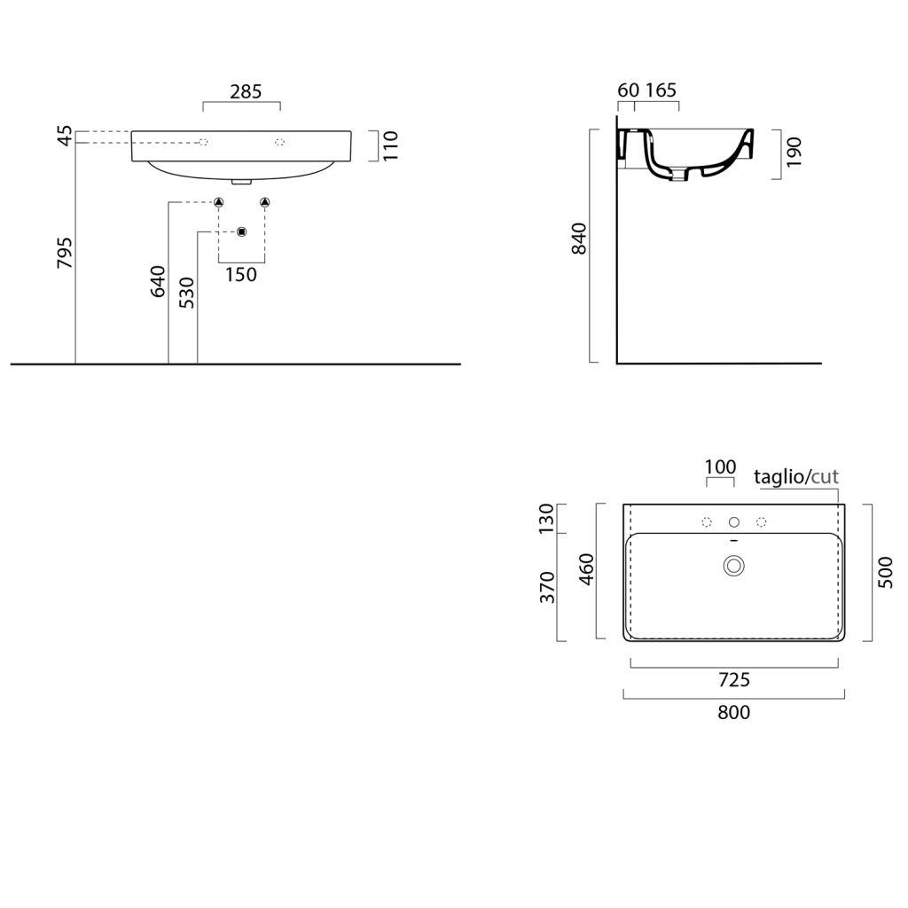 GSI - SAND keramické umyvadlo 80x50 cm, bílá ExtraGlaze (9022111)
