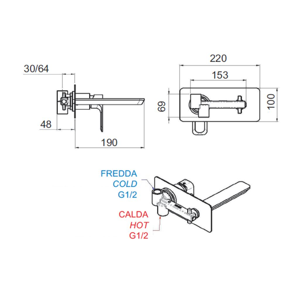 SAPHO - SPY podomítková umyvadlová baterie, chrom (PY08)