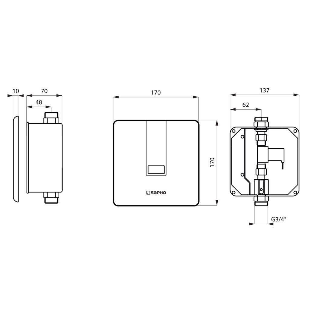 SAPHO - Podomítkový automatický splachovač pro urinal 6V (4xAA), nerez (PS006)