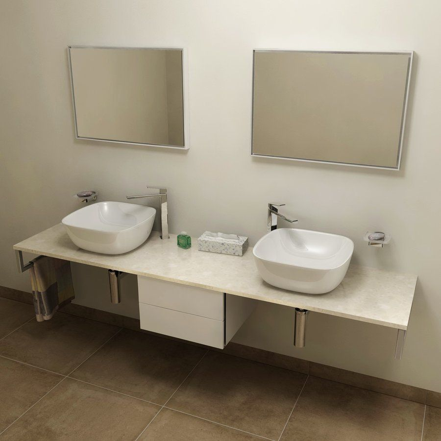 SAPHO - OLIVER deska 200x2x50cm, technický mramor, Fior di pesco (OV200-1220)