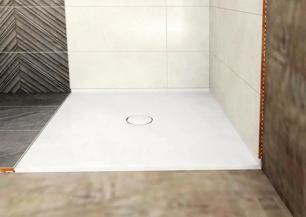 POLYSAN - MIRAI sprchová vanička z litého mramoru, čtverec 80x80x1,8cm, bílá (73182)