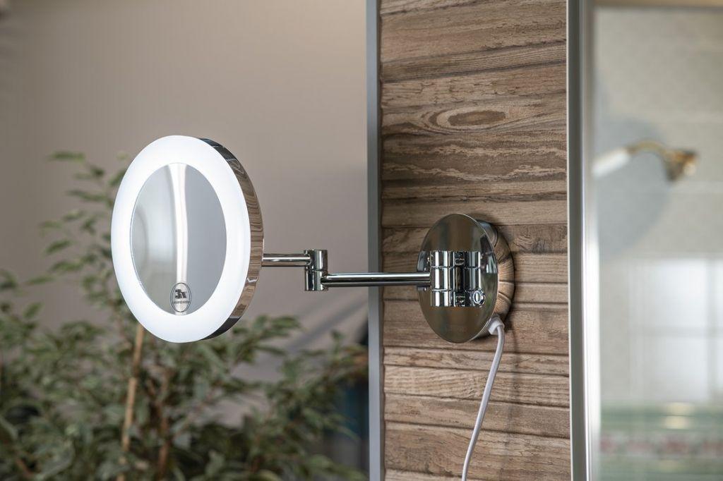 SAPHO - Kosmetické zrcátko s LED osvětlením, kulaté, chrom (MW845)