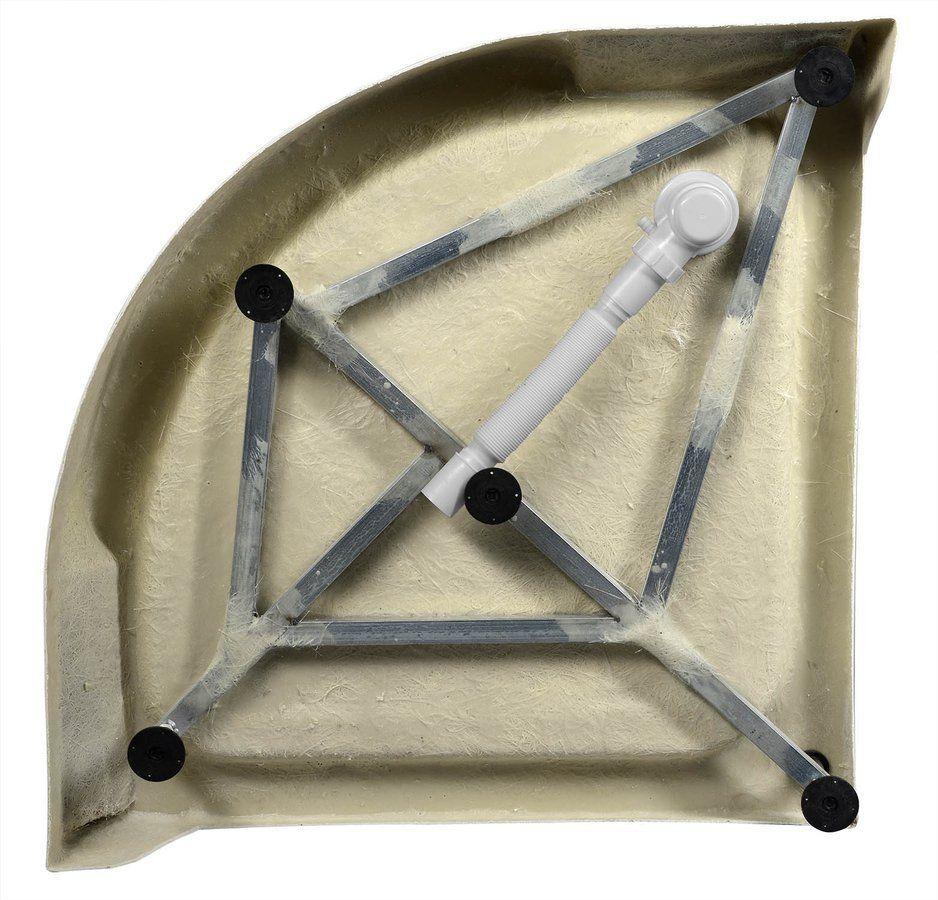 AQUALINE - Sprchová samonosná vanička akrylátová, čtvrtkruh 90x90x15 cm (BTTR90)