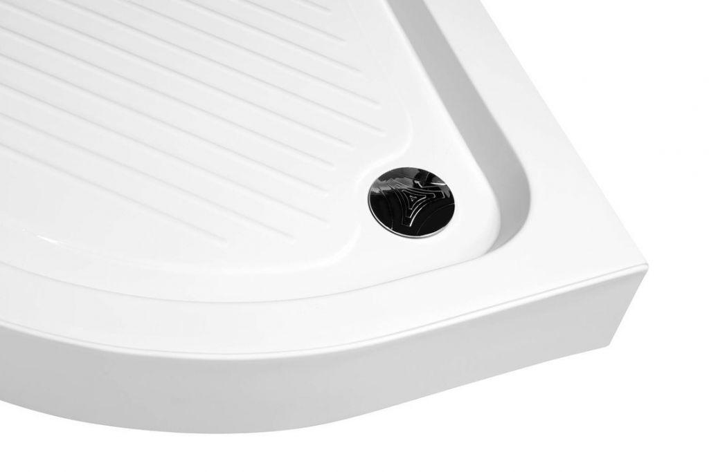 AQUALINE - Sprchová samonosná vanička akrylátová, čtvrtkruh 80x80x15 cm (BTTR80)