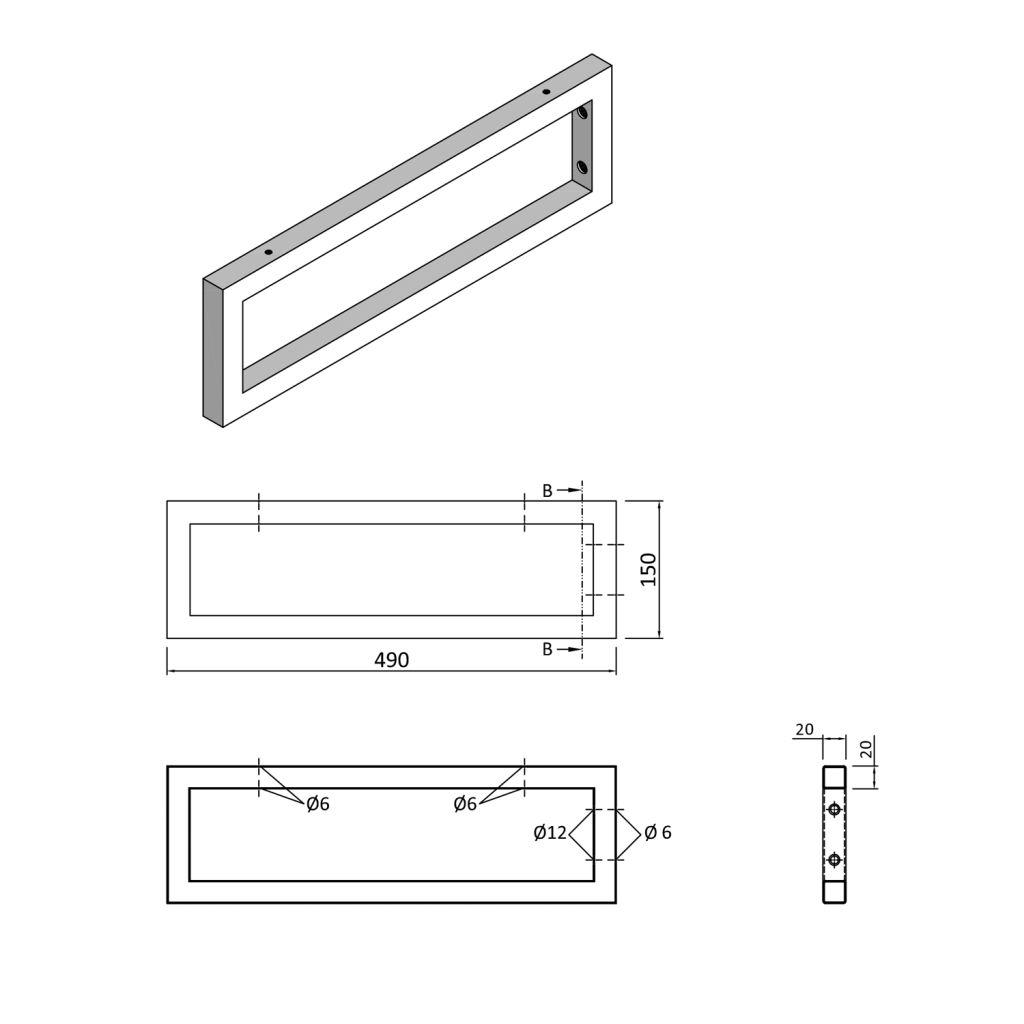 SAPHO - Podpěrná konzole 490x150x20mm, lakovaná ocel, bílá mat, 1 ks (30361)