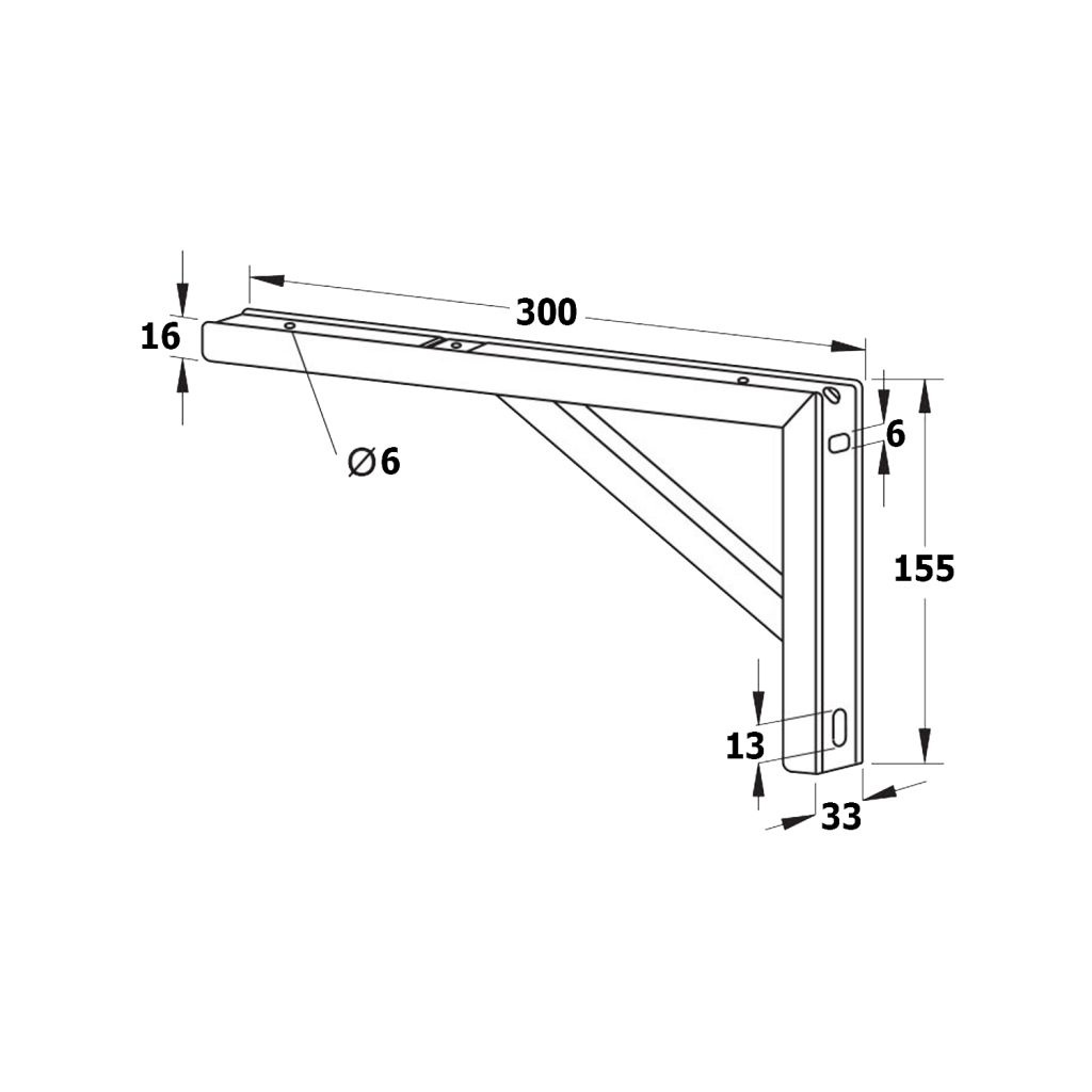 SAPHO - Podpěrná konzole 305x160x32mm, pozinkovaná ocel, 1 ks (30386)