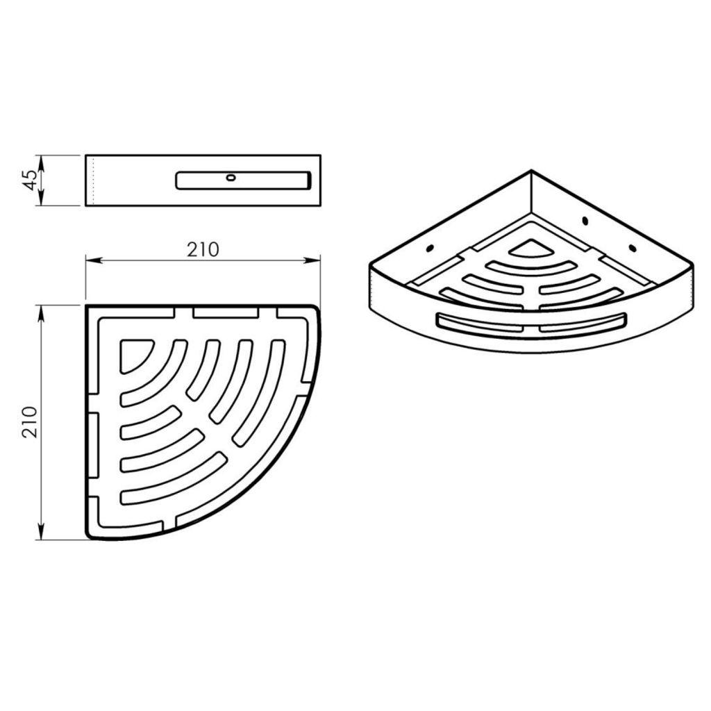 Gedy - SMART rohová police do sprchy, 210x45x210mm, černá matná (247914)