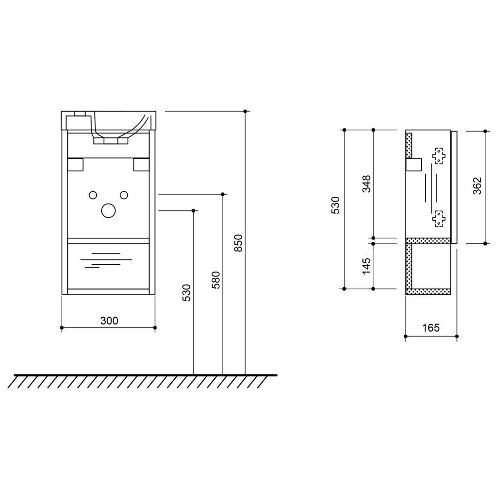 SAPHO - LATUS XI umyvadlová skříňka 30x53x16,5cm, bílá lesk (LT711-3030)