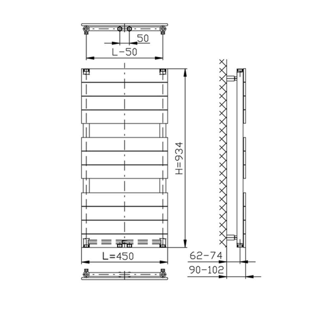 AQUALINE - BONDI otopné těleso 450x934mm, bílá (DC400T)