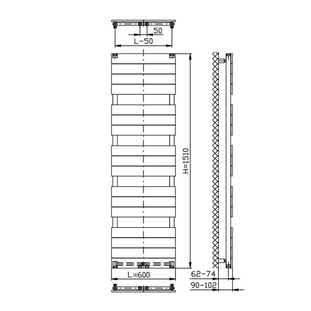 AQUALINE - BONDI otopné těleso 600x1510mm, Antracit (DC445T)