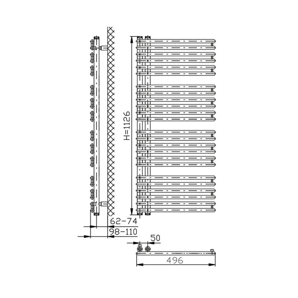 AQUALINE - TUBINI otopné těleso 496x1126mm, bílá (DC300T)