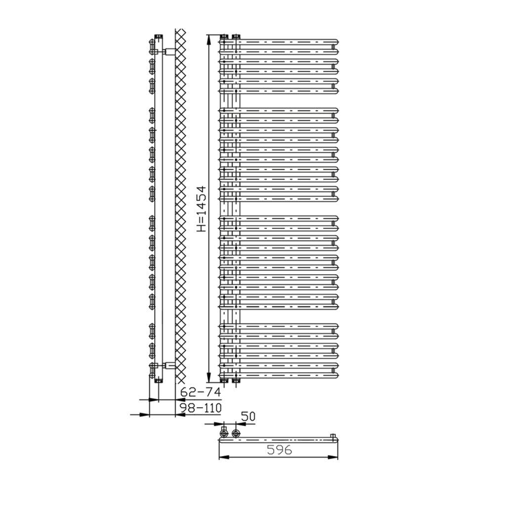 AQUALINE - TUBINI otopné těleso 596x1454mm, Antracit (DC325T)