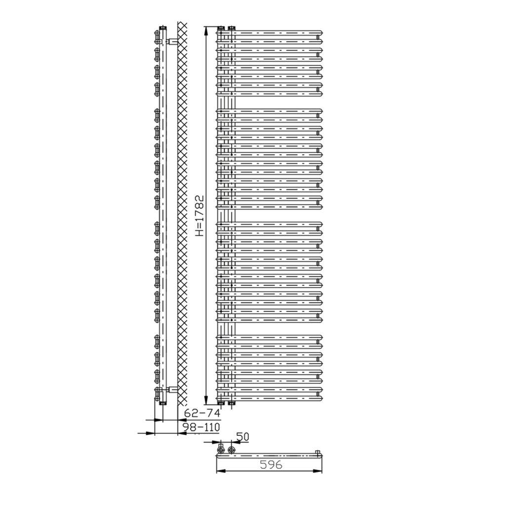 AQUALINE - TUBINI otopné těleso 596x1782mm, bílá (DC330T)