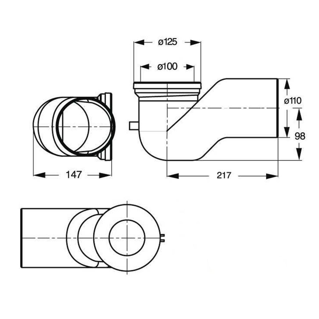 Bruckner - WC koleno 90°, průměr 110 mm, ABS/bílá (159.316.0)