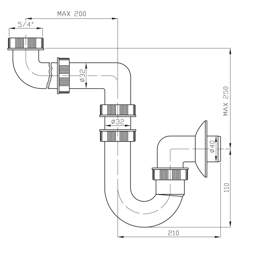 Bruckner - Umyvadlový sifon šetřící místo 1