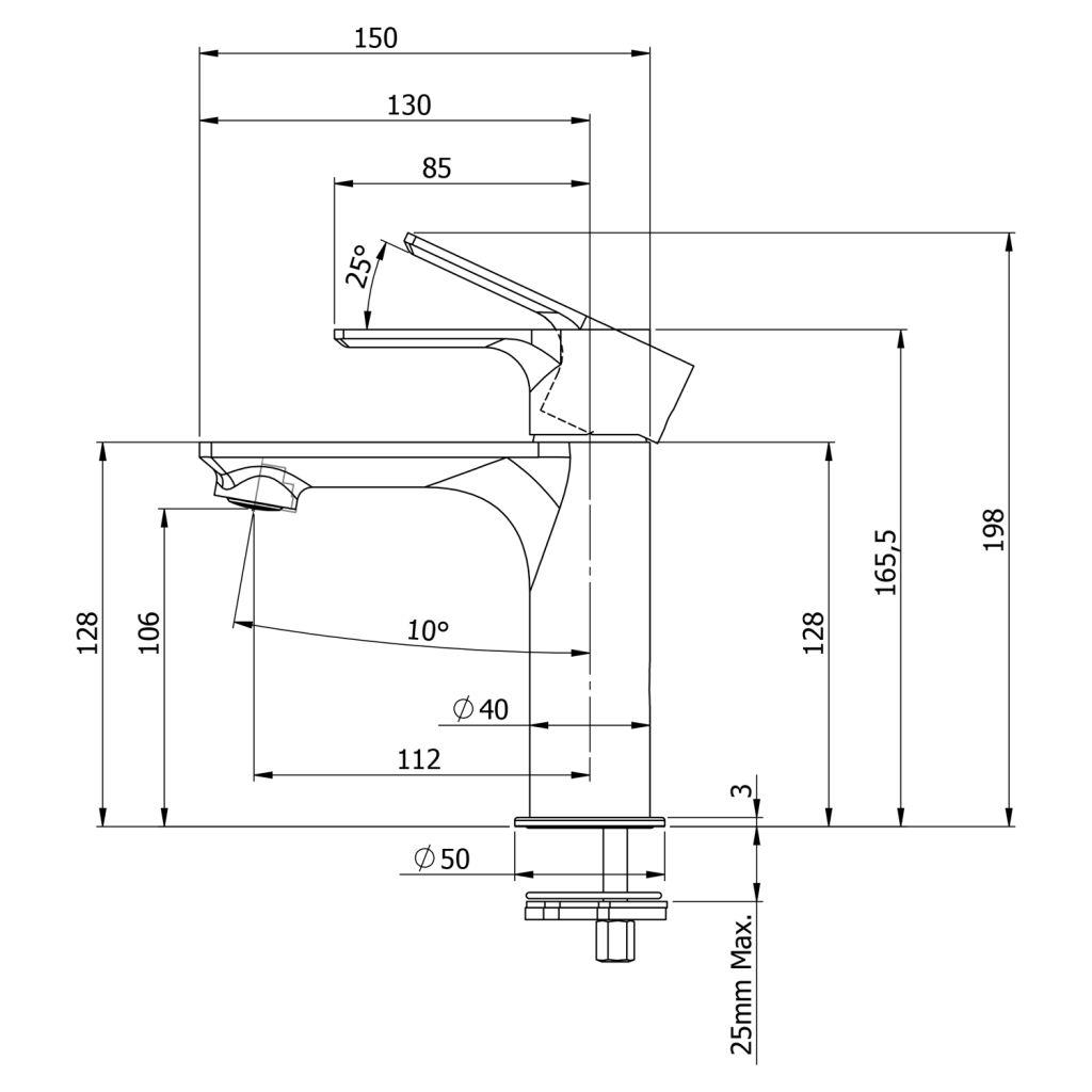 SAPHO - PAX stojánková umyvadlová baterie bez výpusti, černá mat (XA02/15)