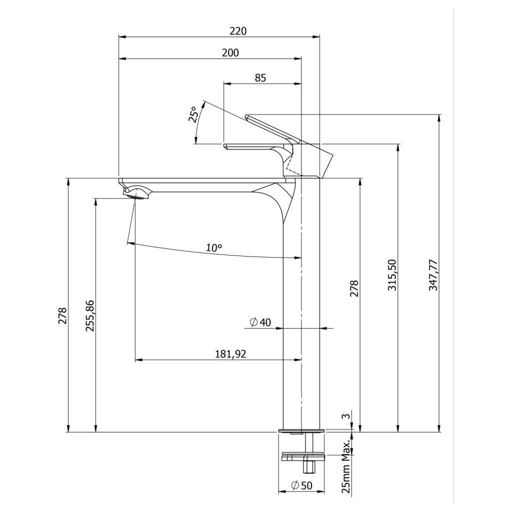 SAPHO - PAX stojánková umyvadlová baterie vysoká bez výpusti,prodloužená hubice,černá mat (XA07/15)