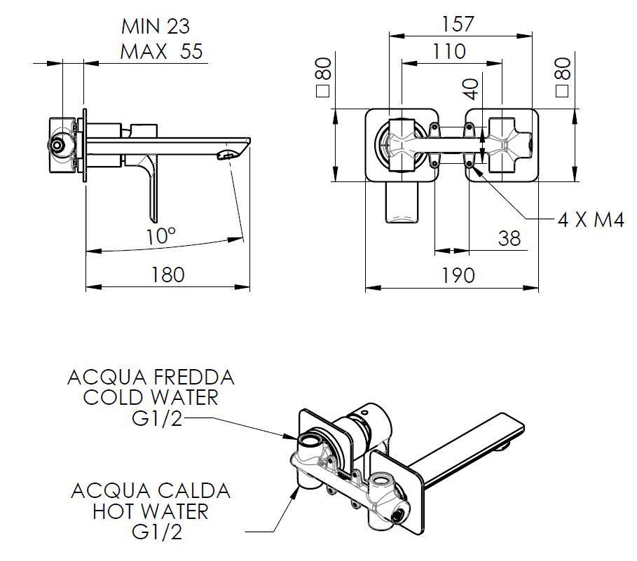 SAPHO - PAX podomítková umyvadlová baterie, černá mat (XA08/15)