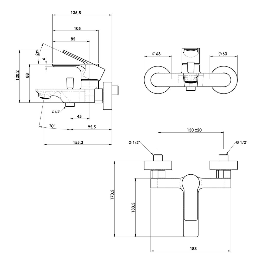SAPHO - PAX nástěnná vanová baterie, černá mat (XA10/15)