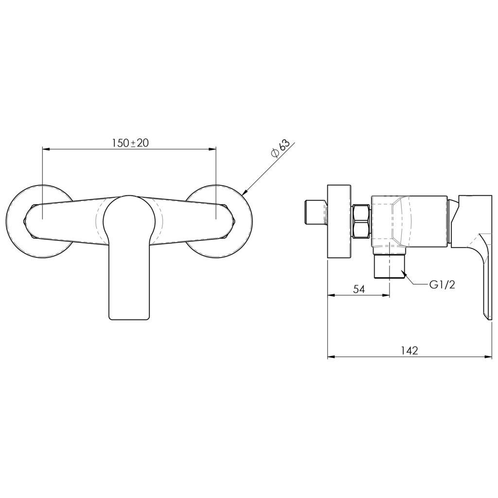 SAPHO - PAX nástěnná sprchová baterie, chrom (XA11)