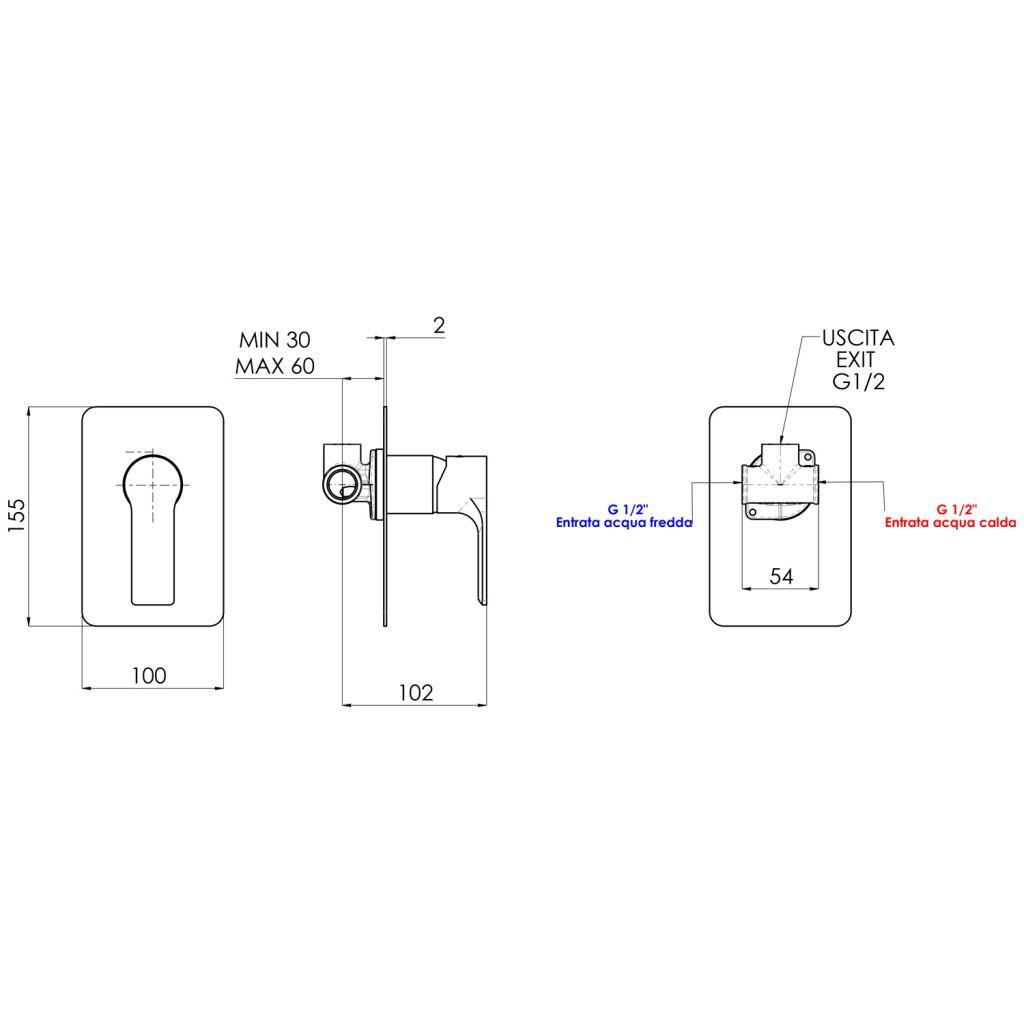 SAPHO - PAX podomítková sprchová baterie, 1 výstup, černá mat (XA41/15)