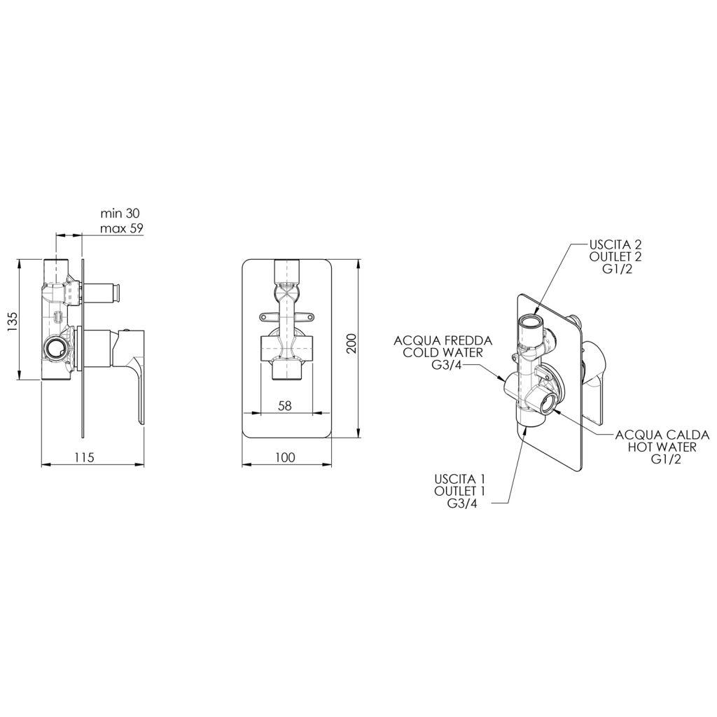 SAPHO - PAX podomítková sprchová baterie, 2 výstupy, chrom (XA42)