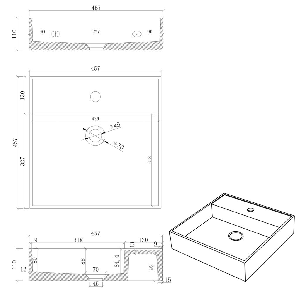 SAPHO - QUADRADO betonové umyvadlo včetně výpusti, 46x46 cm, bílý pískovec (AR469)